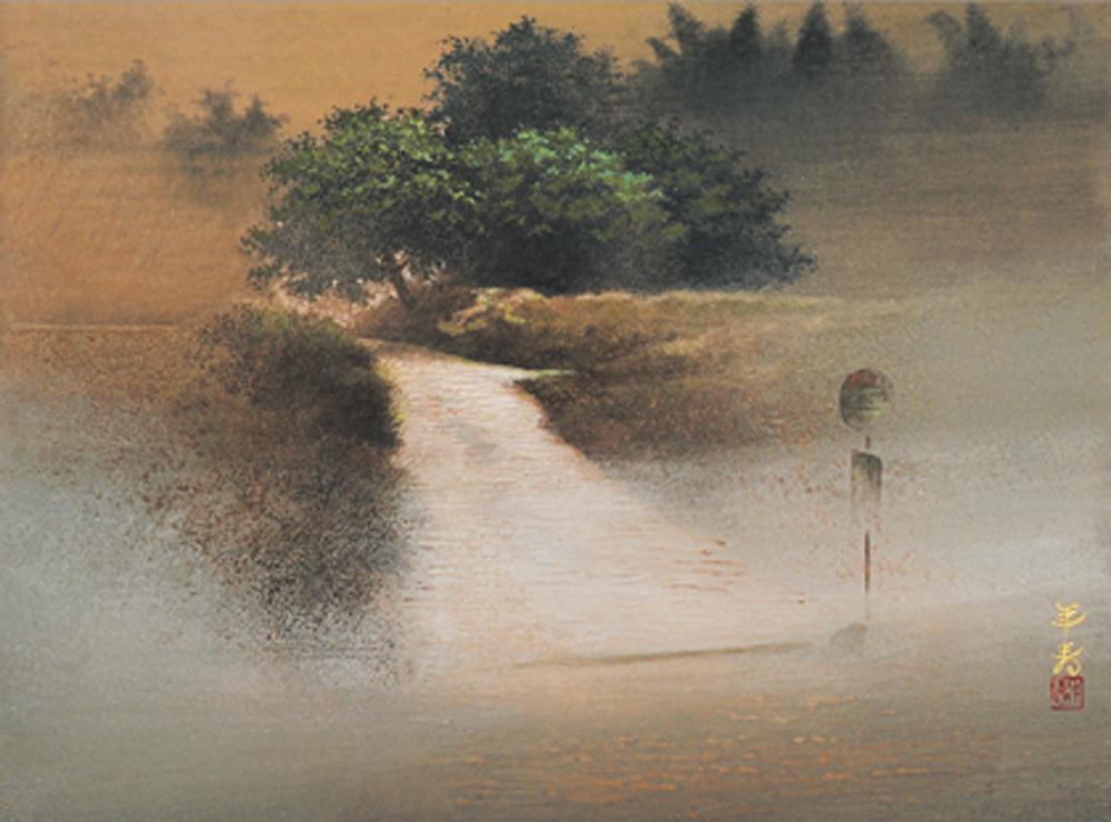 2011年10月21日から開催の「— 微かな記憶 — 古田 年寿 日本画展」の古田 年寿の作品DMの画像